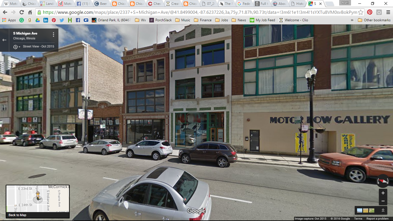"Motor Row Brewing - formerly the Federal Motor Car Showroom, circa 1910). Next to it is the Motor Row Art Gallery and the street denotes the numerous historic landmarks that made it ""Motor Row."" (Photo Credit: Google Maps)"