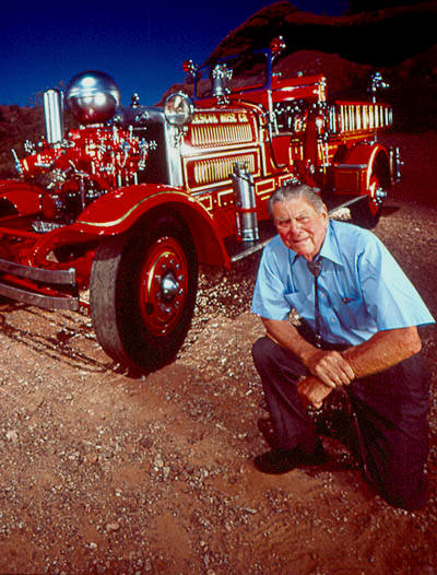 George Getz, Jr. in 1989, with the Hall's 1931 Ahrens Fox Type N Engine from North Tarrytown, NY.