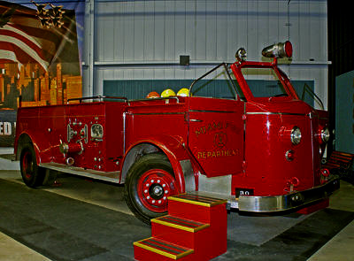 A 1952 American La France Model 700 fire engine from Miami, Arizona is available for boarding by visitors.  n.d.