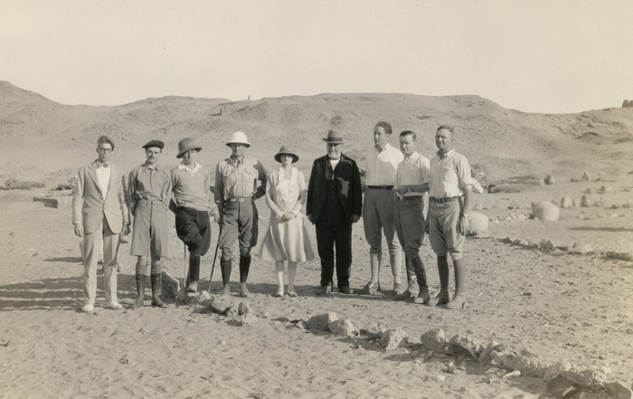 UM staff on a dig in Egypt in 1926. Kelsey is the man in the dark suit, fourth in from the right.