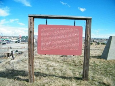 This historic marker relates the anguish of two Native American warriors who commit suicide when the return to see their village decimated by small pox.