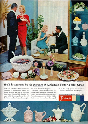1958 Fostoria Glass Co. advertisement.