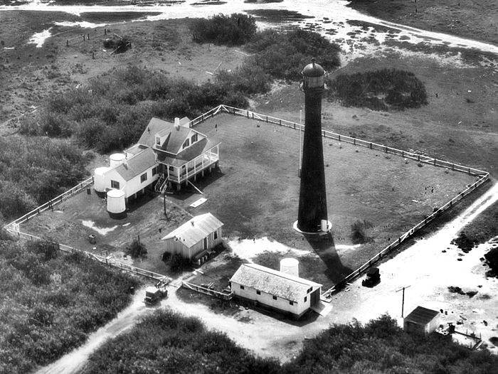 An aerial view of the Matagorda Island lighthouse complex in 1950.