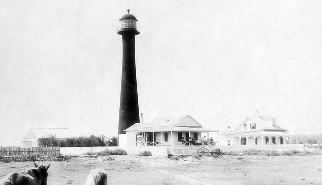 The Matagorda Island light and keeper's quarters, circa 1930.