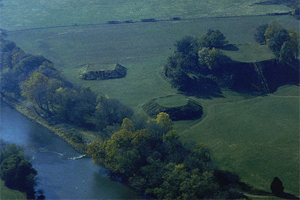 Aerial view of the Etowah Indian Mounds.