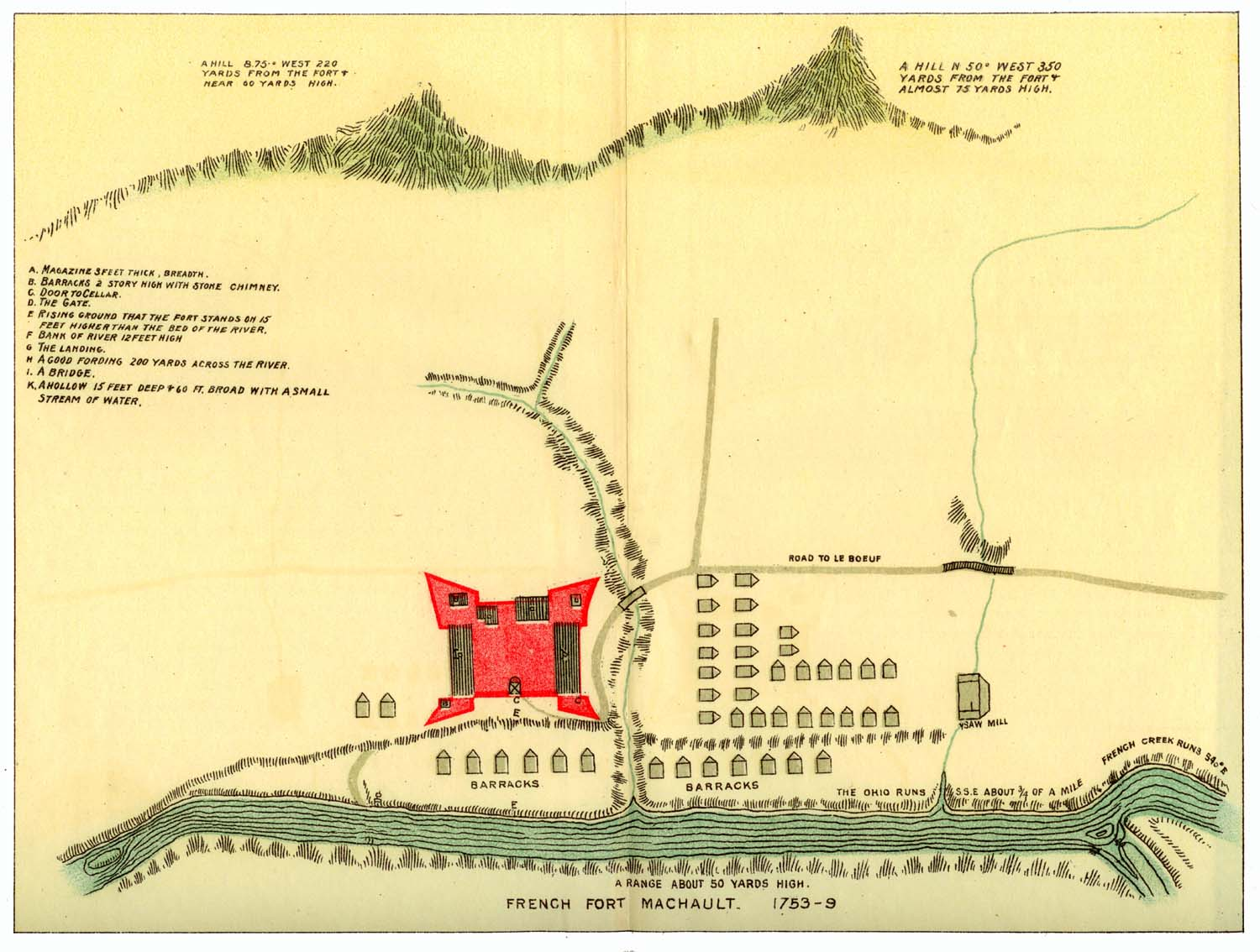 Overhead map of Fort Machault