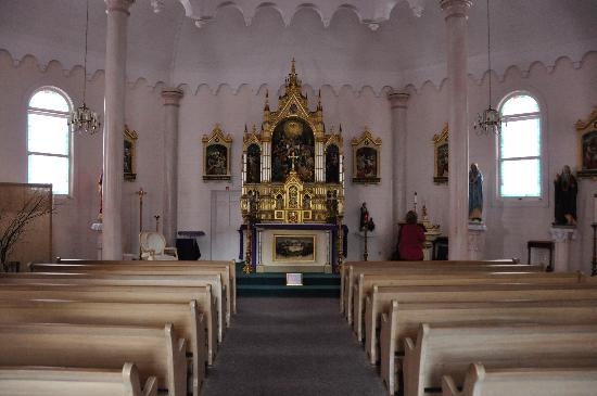 View inside the church, with the altar in the center