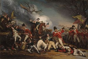 John Trumball painting of the death of General Hugh Mercer. Mercer is being bayoneted by British Soldiers in the center.