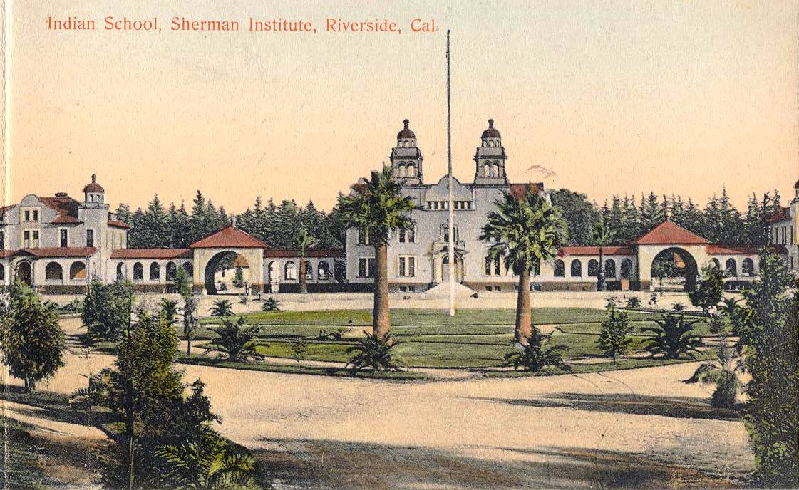 Postcard depicting the original Sherman Institute.
