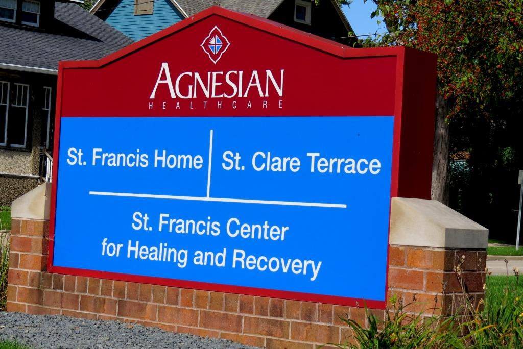 Sign for St. Francis Home complex, 2020.