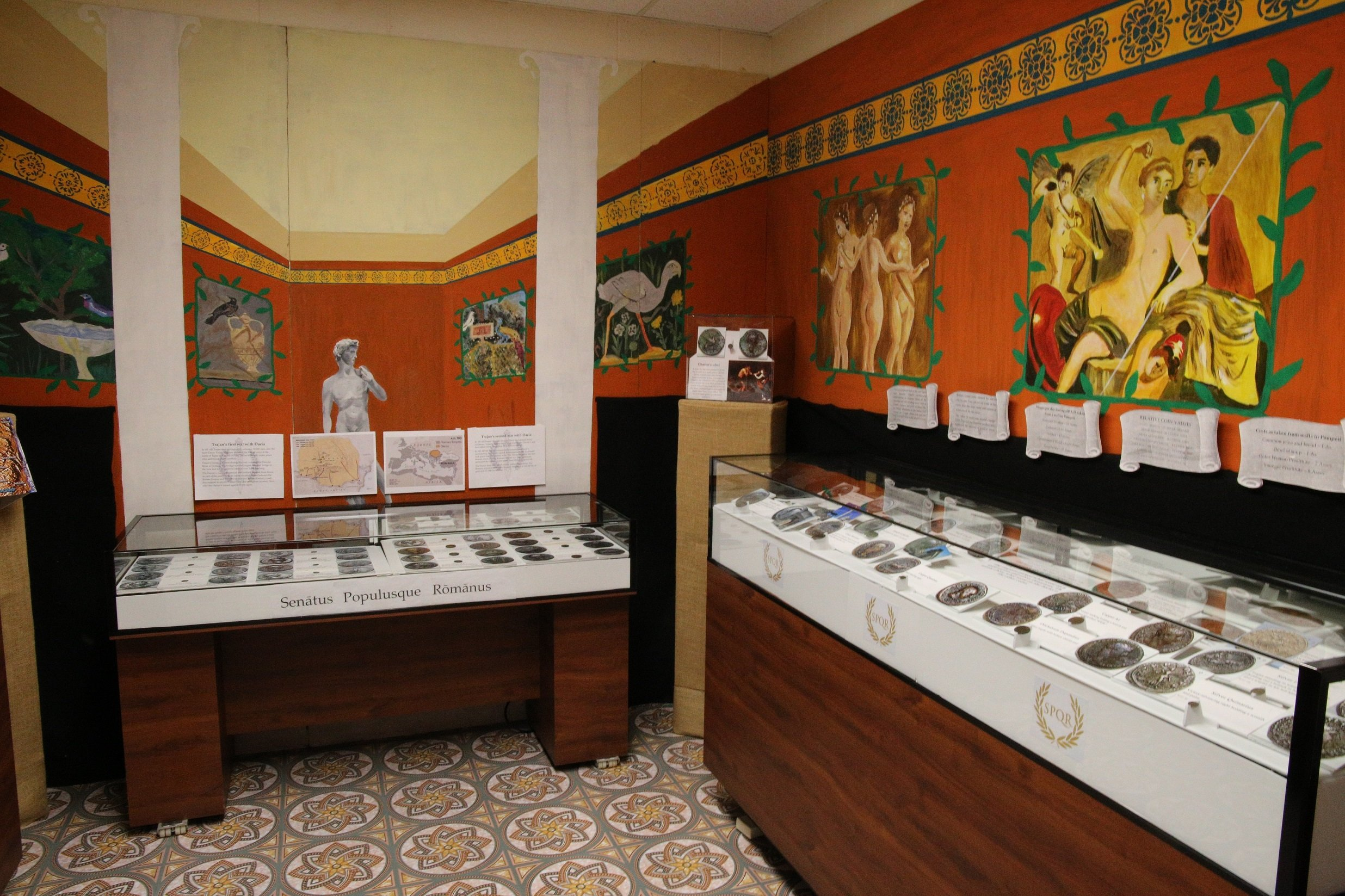 Pictured is part of the Roman Coin collection that is one of the top Twenty collections in the U.S. and is housed at the Stirrup Gallery.