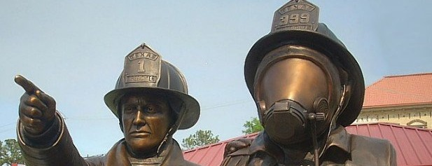 The bronze statue of the State of Texas Firefighter Memorial at the Texas Fire Museum in Beaumont.