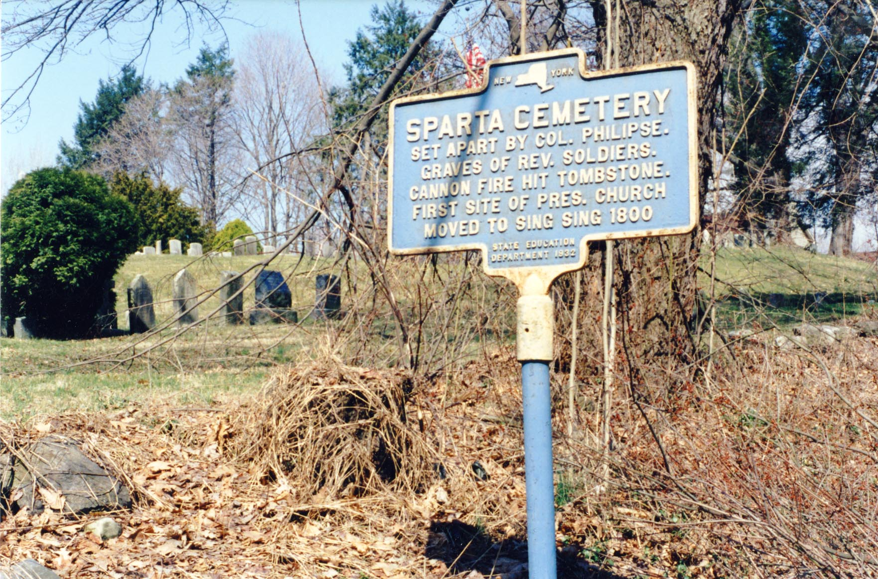 New York State historic marker at Sparta Cemetery.