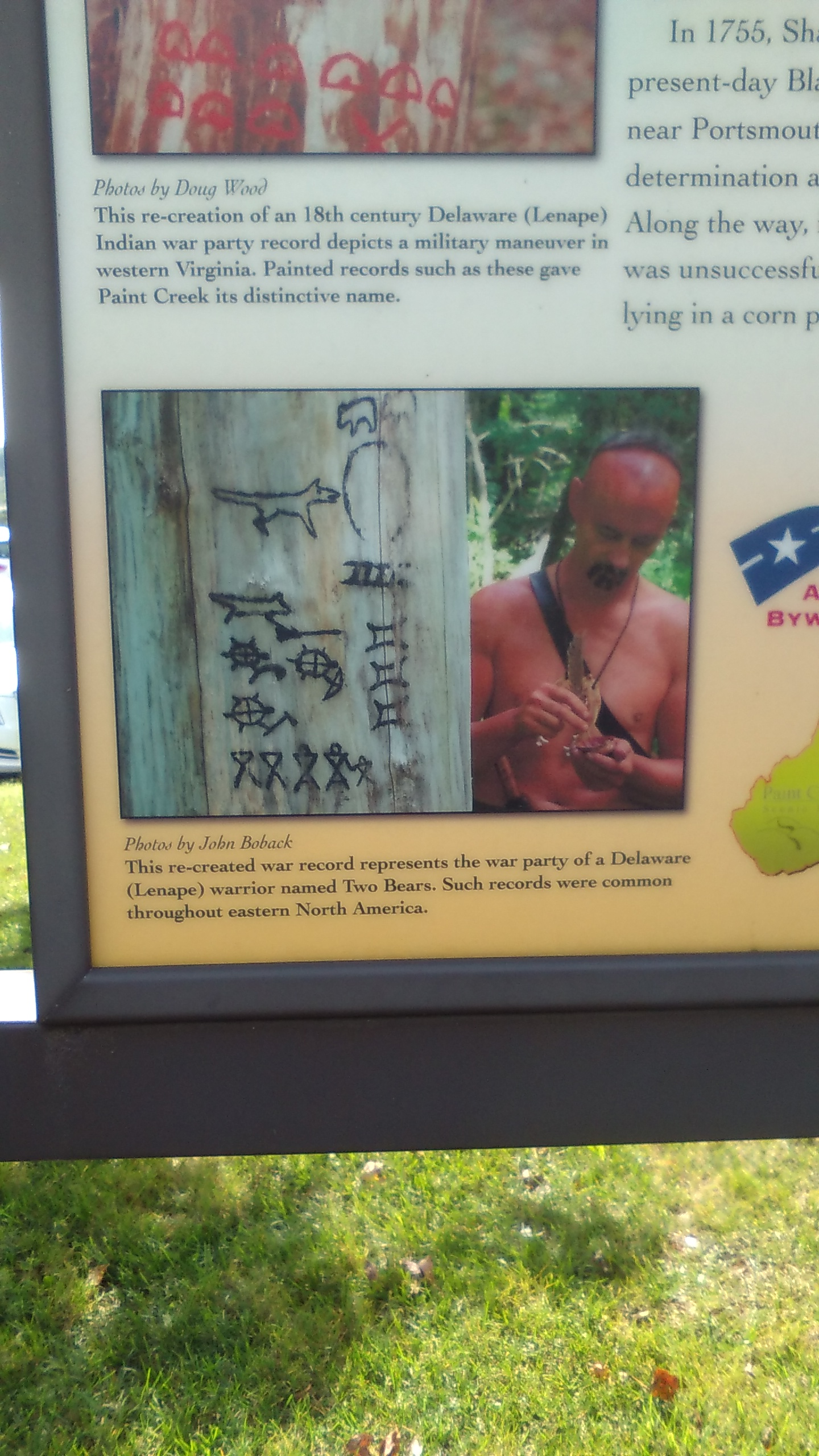 2.This re-created war record represents the war party of a Delaware (Lenape) warrior named Two Bears. Such records were common throughout eastern North America. Photo by Scott George Sept. 2016