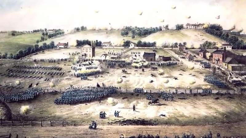 A painting of Union assaults up Marye's Heights