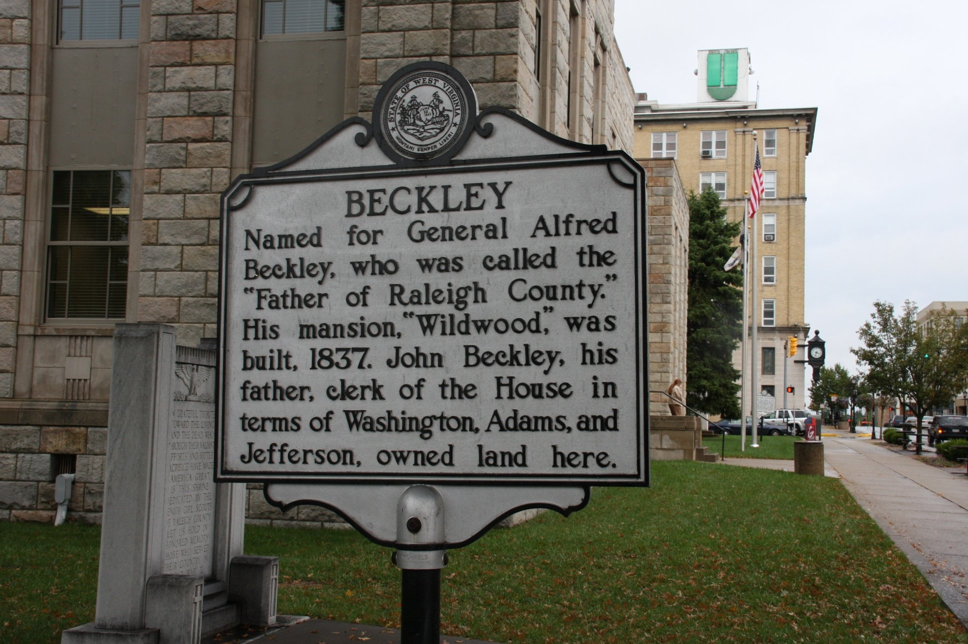 One historical marker commemorates the origins of the town of Beckley. Image obtained from the Historical Marker Database.