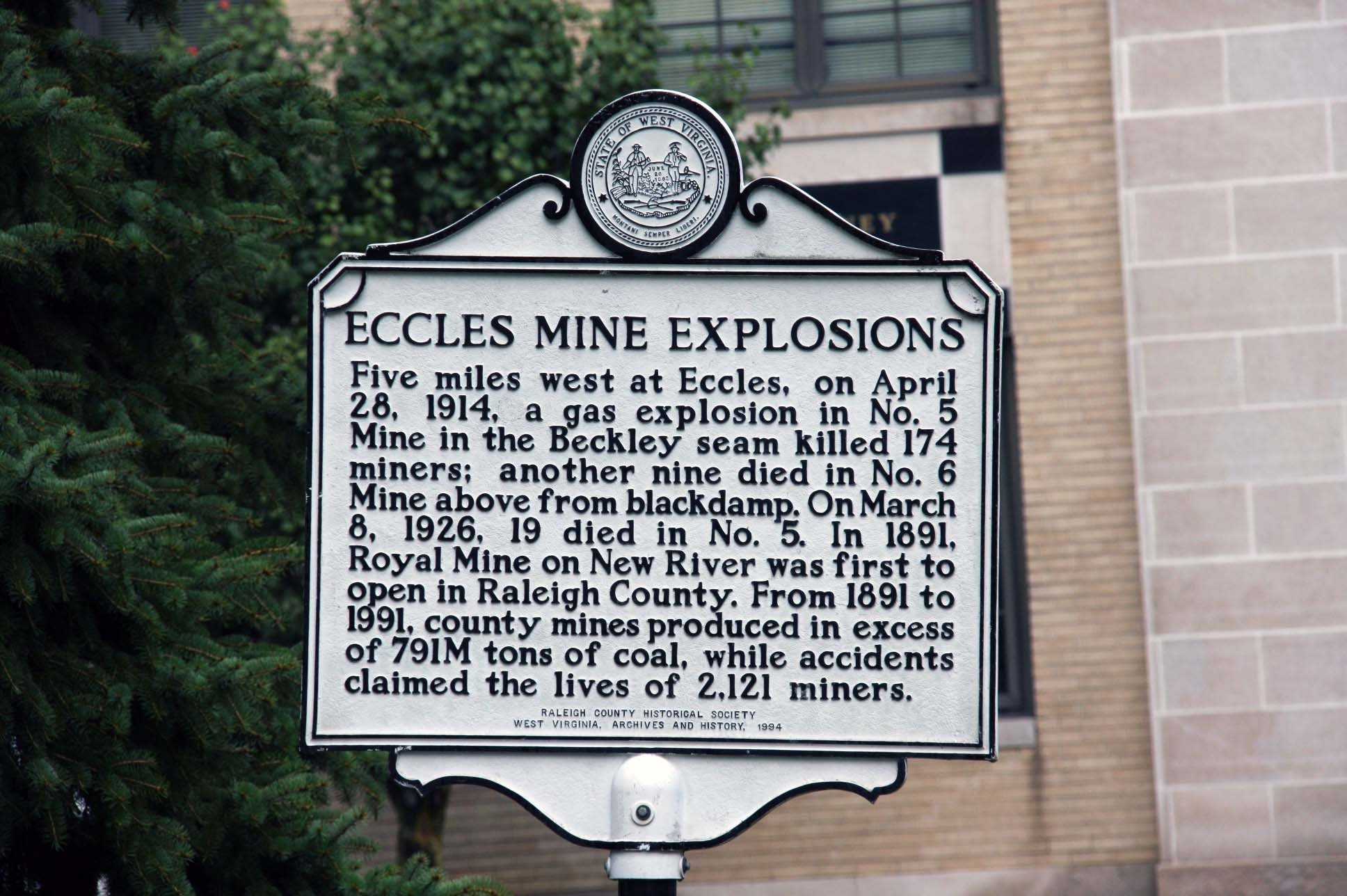 Another marker commemorates the 1914 and 1926 Eccles mine explosions, which occurred about five miles away. Image obtained from the Historical Marker Database.
