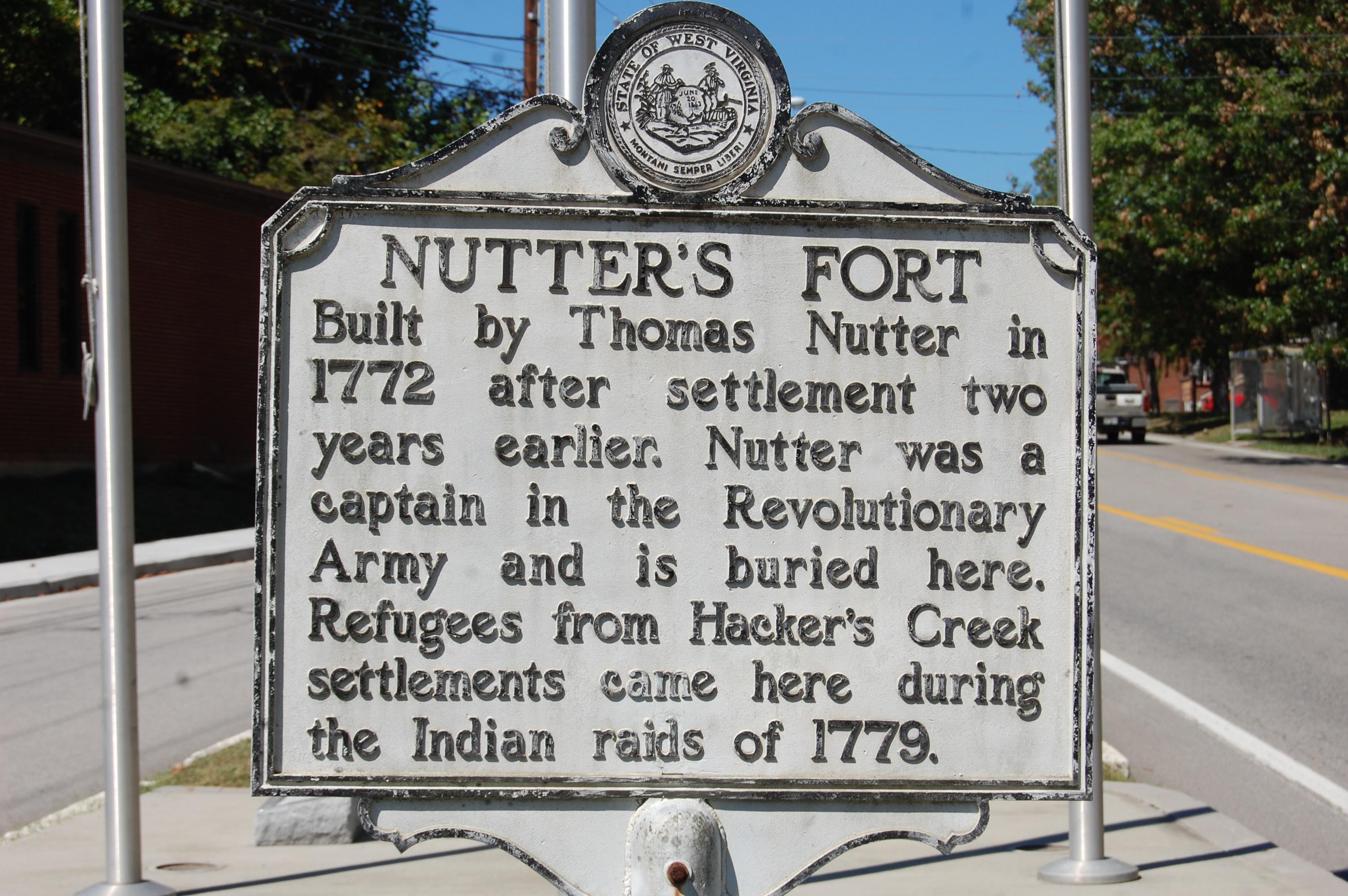 West Virginia Historical Road marker for Nutter Fort.