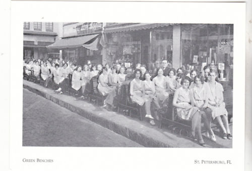 Women seated in front of the Kress building in the 1940s for an unknown event