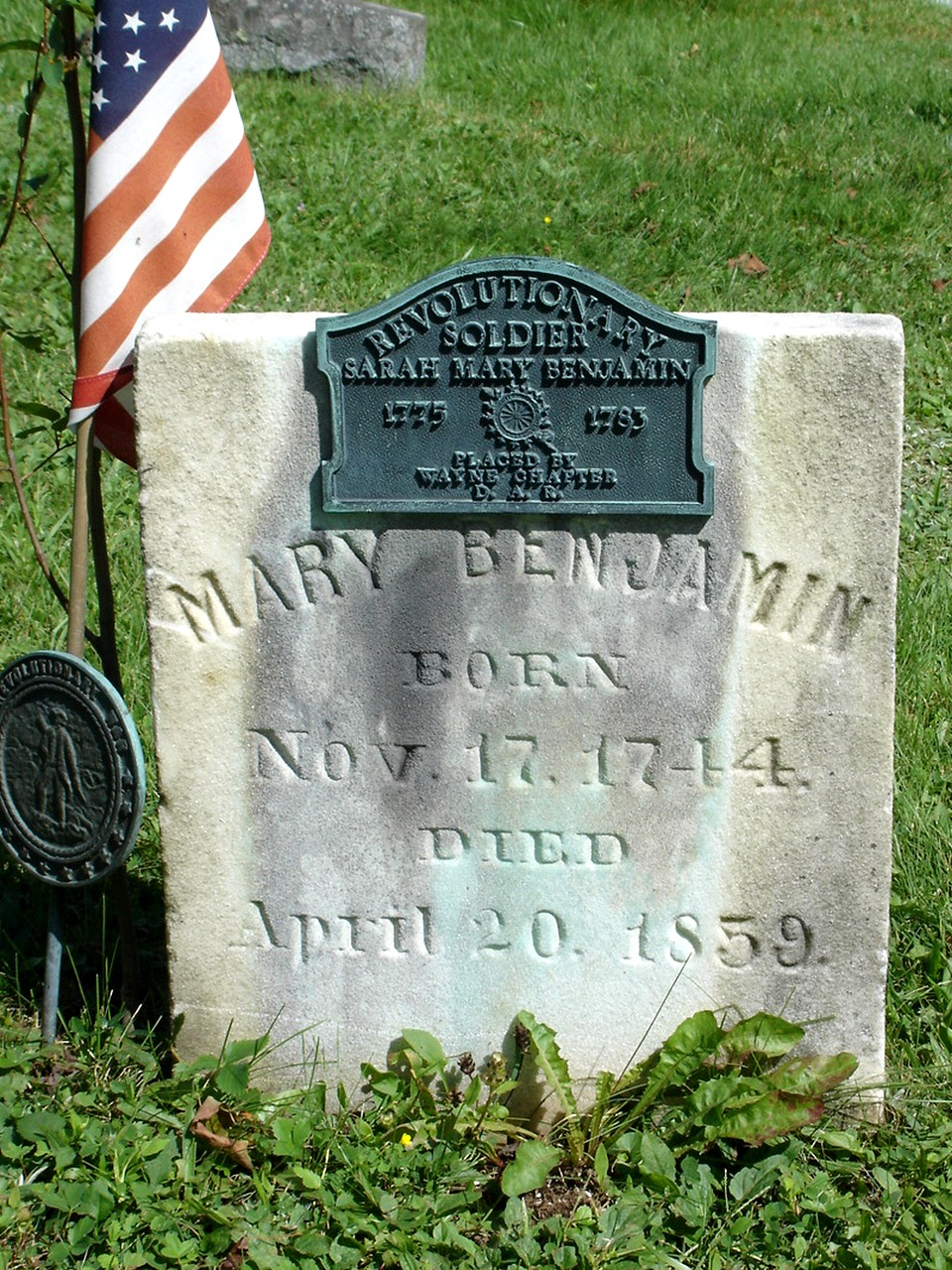 The grave of Sarah Mary Benjamin is located in Green Grove Cemetery, PA.