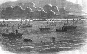 Only known sketch that claims to contain the USS Sagamore (third from right)
