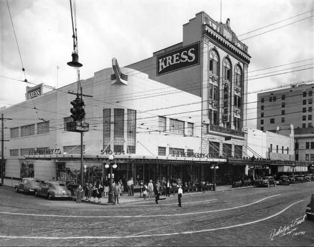 Kress building with the Woolworth building on the left and JJ Newberry building on the far right in the 1940s