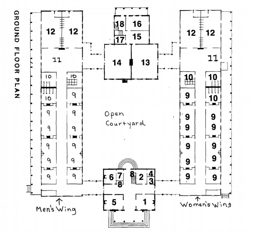 Floorplan with historic uses by Morris 1983 (modified 2013 by Messick)