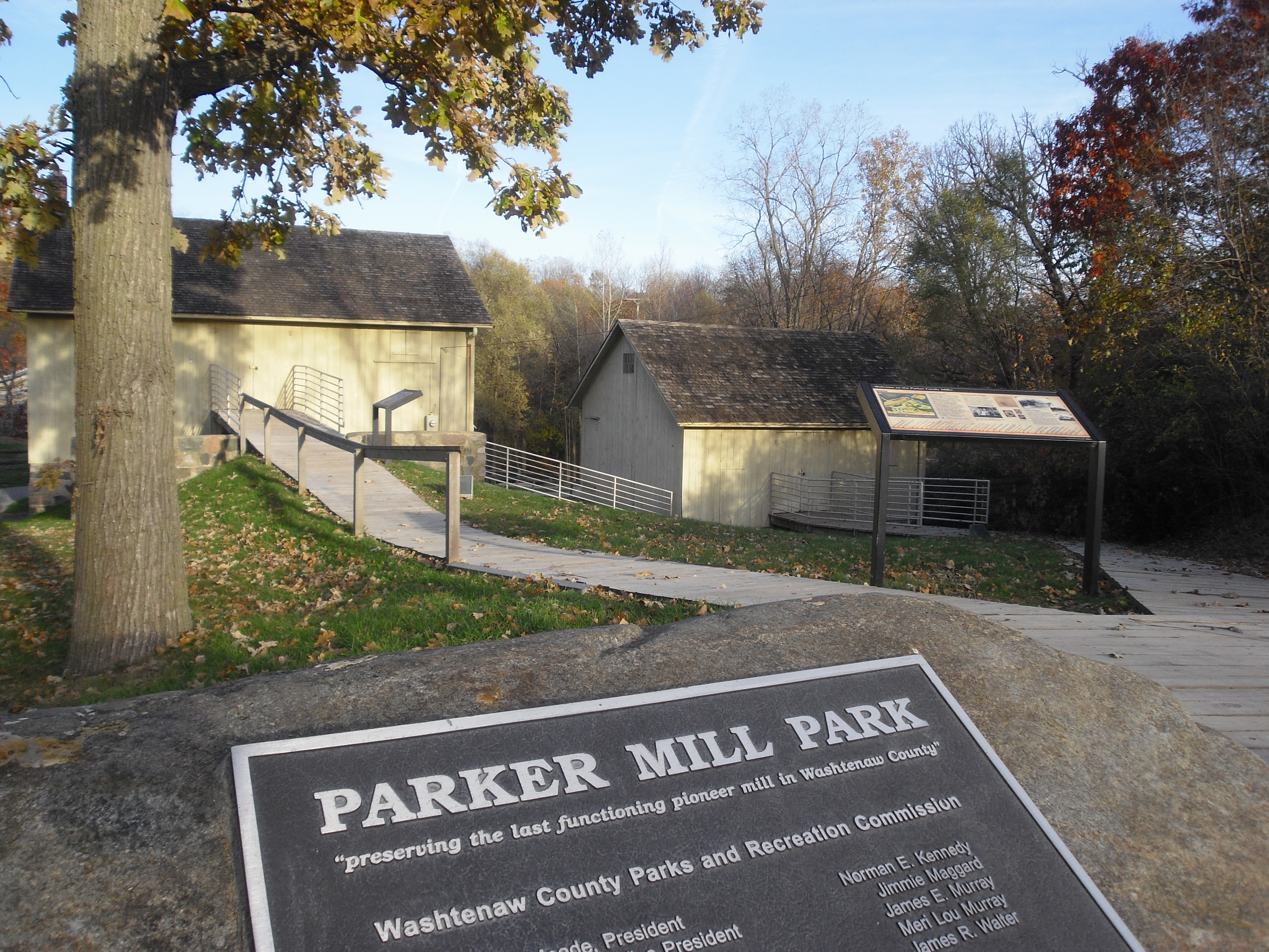 Parker Mills with interpretive signs