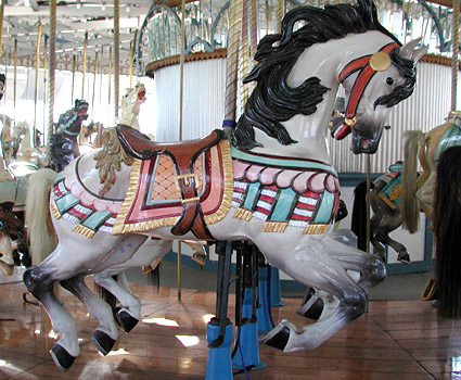 An example of a carved horse in the carousel
