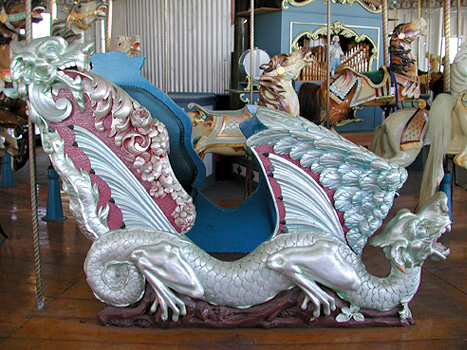 One of the two dragon-chariots in the carousel