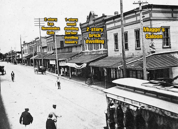7th Ave. in 1899. Novedades is marked (fourth from right)