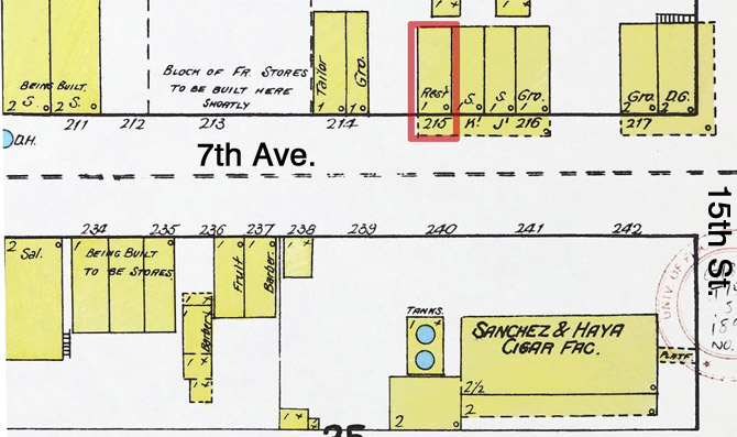 1892 Map of 7th Ave. Novedades marked in red