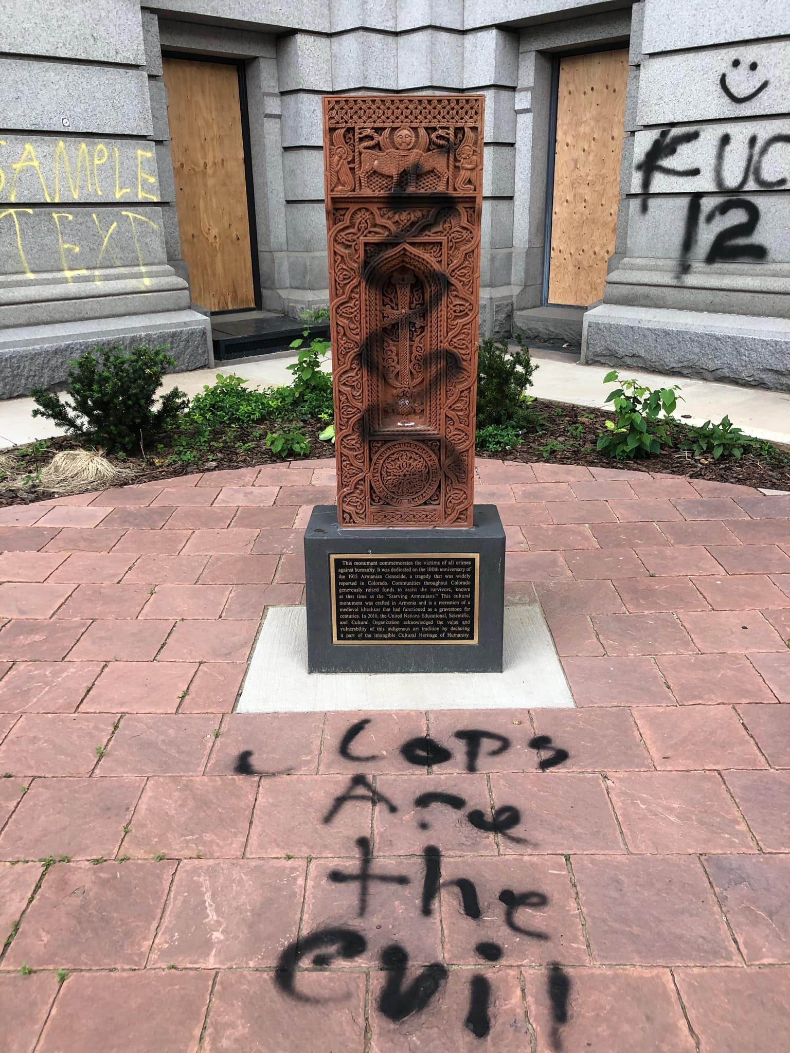 Memorial damage from George Floyd Protests in May of 2020.