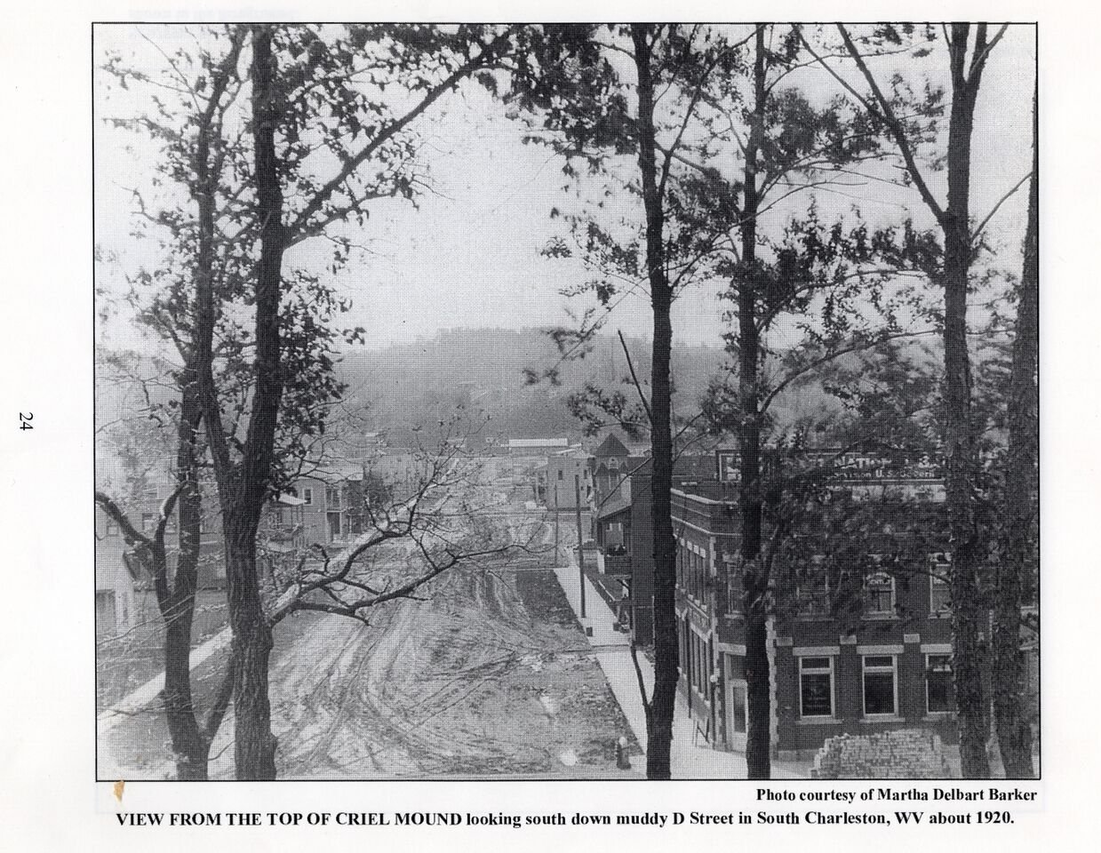 View up D Street (toward present-day City Hall) from the top of the Criel Mound, circa 1920. Not always well preserved,in 1840 the top of the Mound was leveled off to accommodate a judges' stand for a racetrack that encircled the Mound's base,