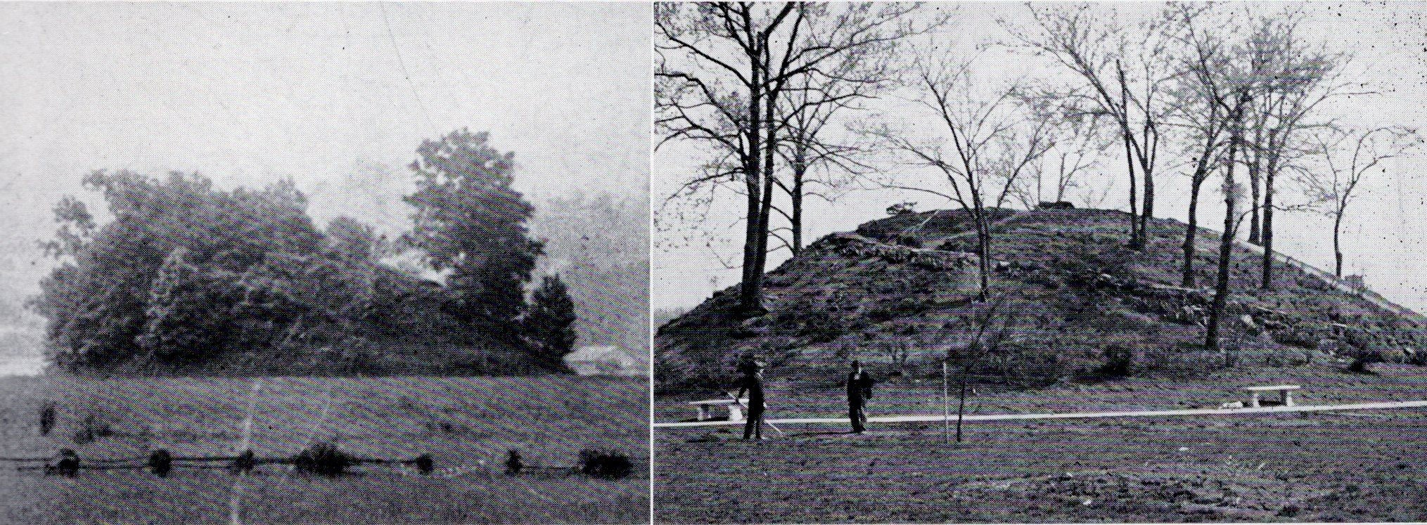 "Two side-by-side photographs from the April 1942 issue of ""Carbide News,"" the official Union Carbide Corporation publication, show the mound as it appeared in 1907 (L) and 1942 (R). Carbide, a pioneer in the chemical industry, had a plant in the city."