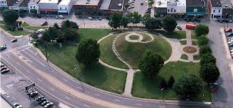 Ariel view of the mound and accompanying park.