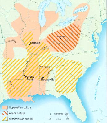 Map showing where the Adena culture lived.