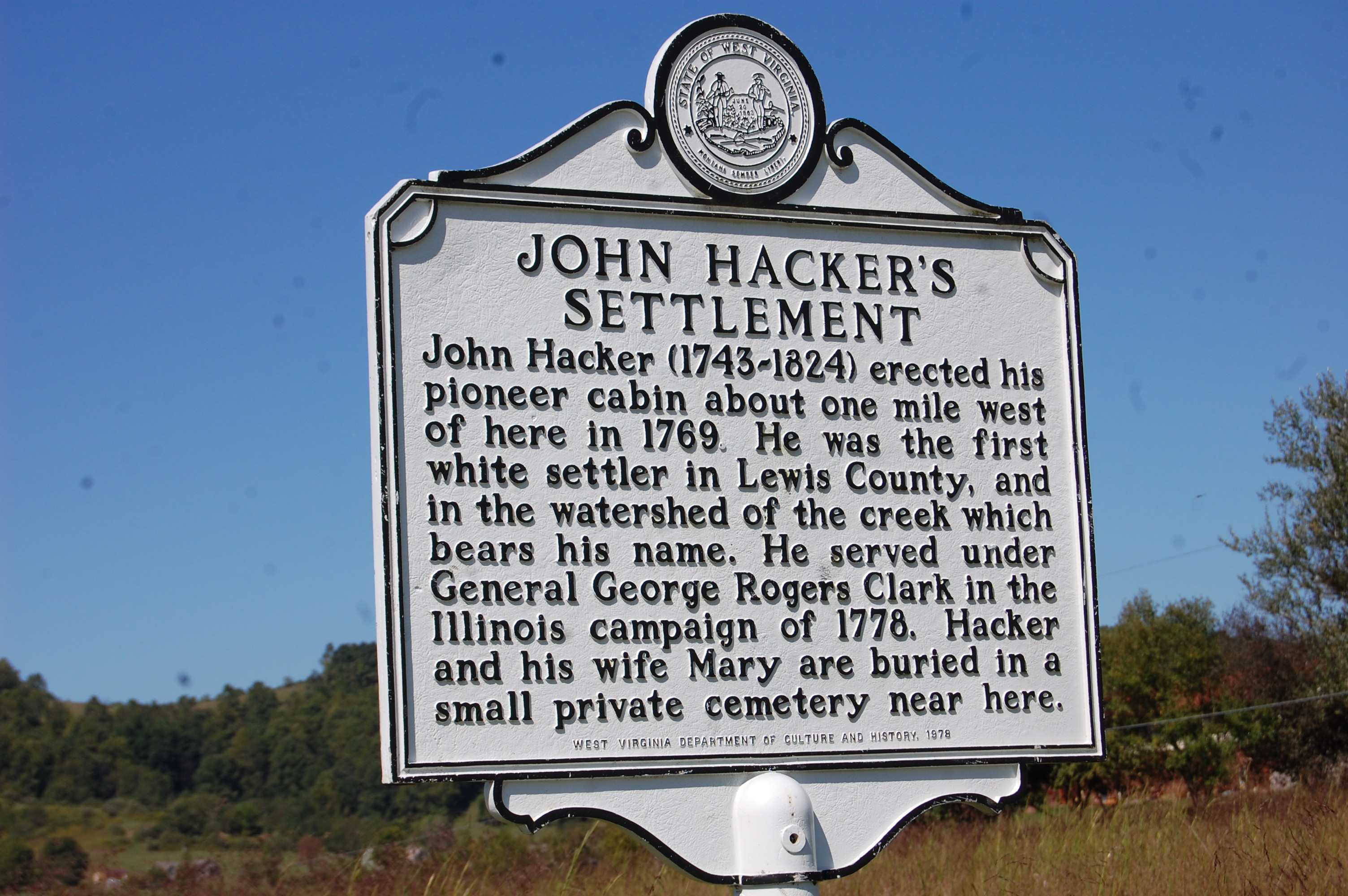 West Virginia Historical Road Marker for the John Hacker Settlement.