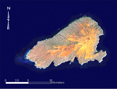 Satellite image of the island, which was formed by a now dormant volcano.