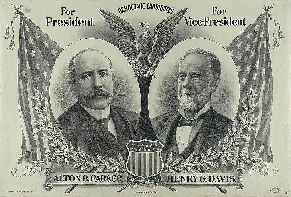 1904 Parker/Davis Democratic presidential candidate poster