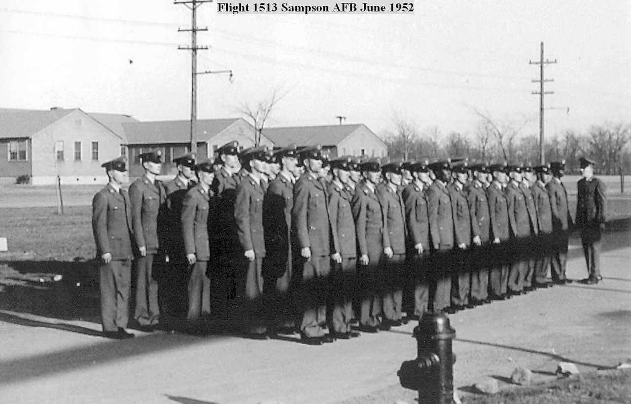 Wartime graduation of new airmen, BMT Flight 1513 3691 BMTS June 1952.