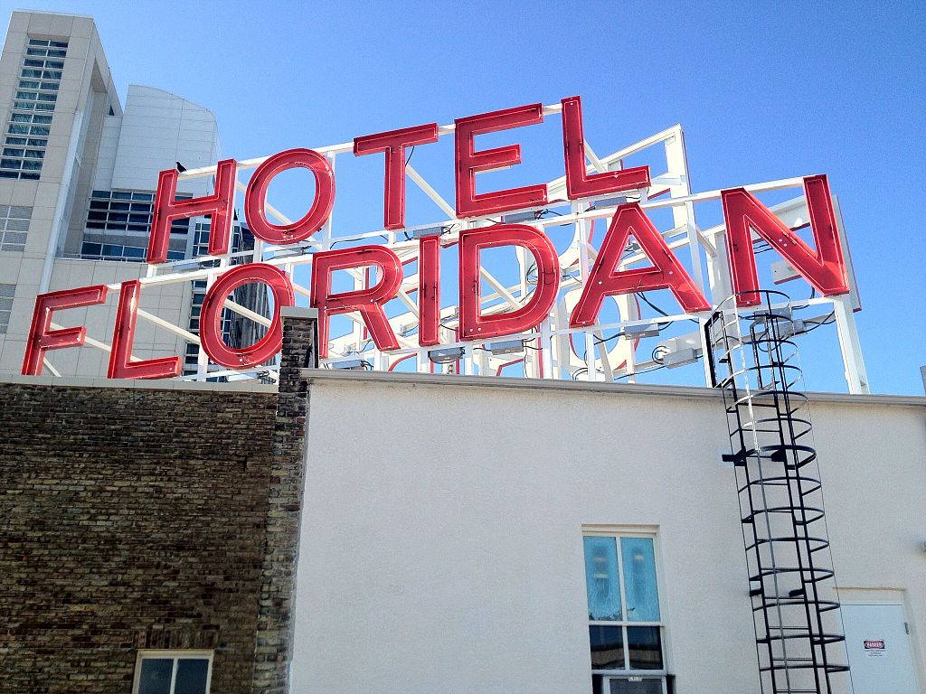 The hotel's historic sign restored.