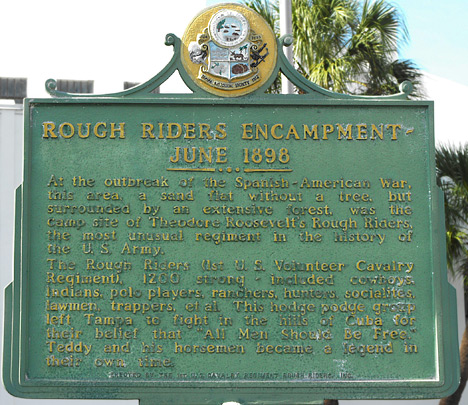 A marker commemorating the Rough Riders camping at the grounds that now hold the armory