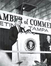JFK speaking at the armory