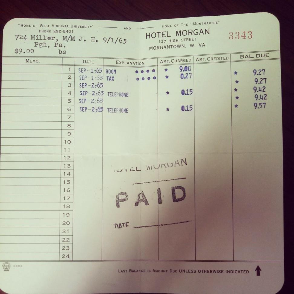 An orginal guest receipt from 1965