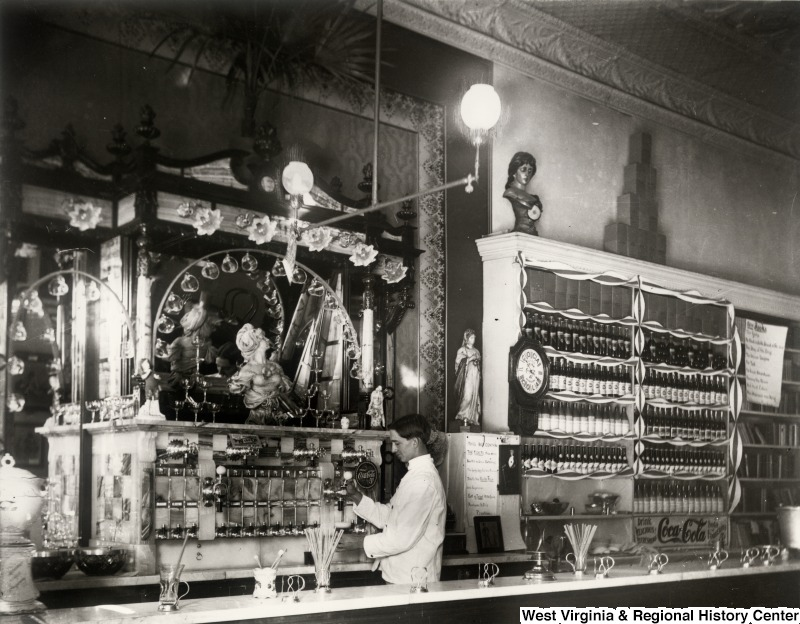 Example of the Collections: Interior of Drug Store with Soda Fountain ca. 1900-1910 IDNO: 000018