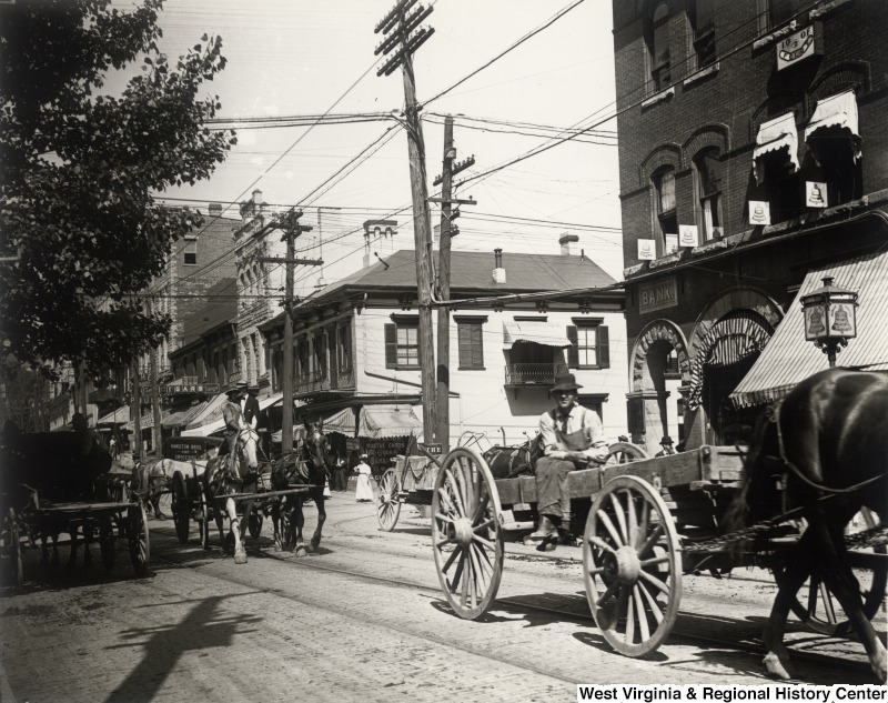 Example of the Collections: Morgantown, W. Va. at the Intersection of High Street and Walnut ca. 1900 IDNO: 000019