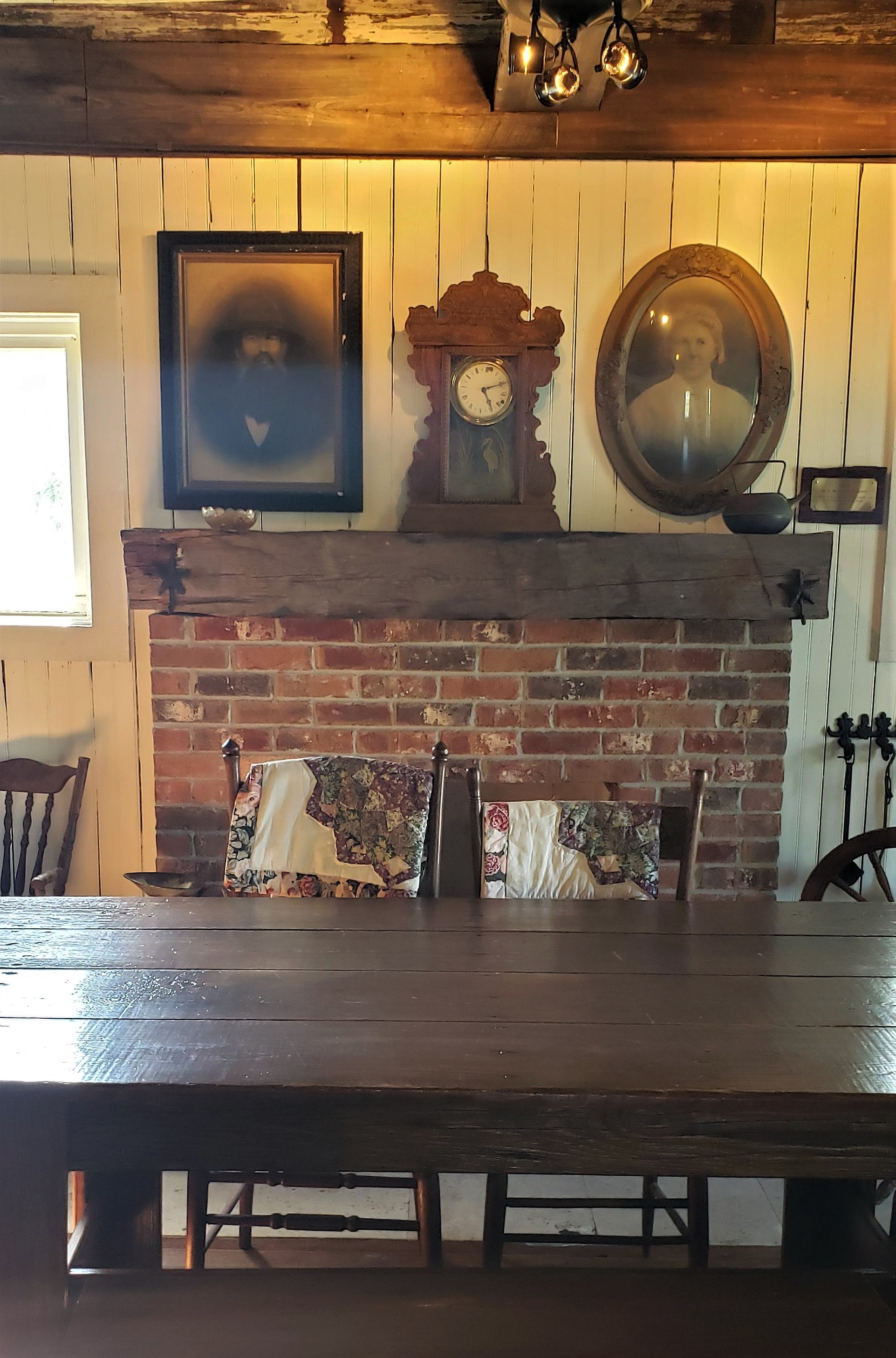 Original fireplace and hand-made family table
