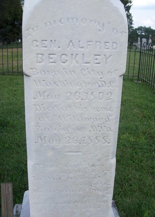 Gen. Alfred Beckley grave marker in Wildwood Cemetery Beckley, WV