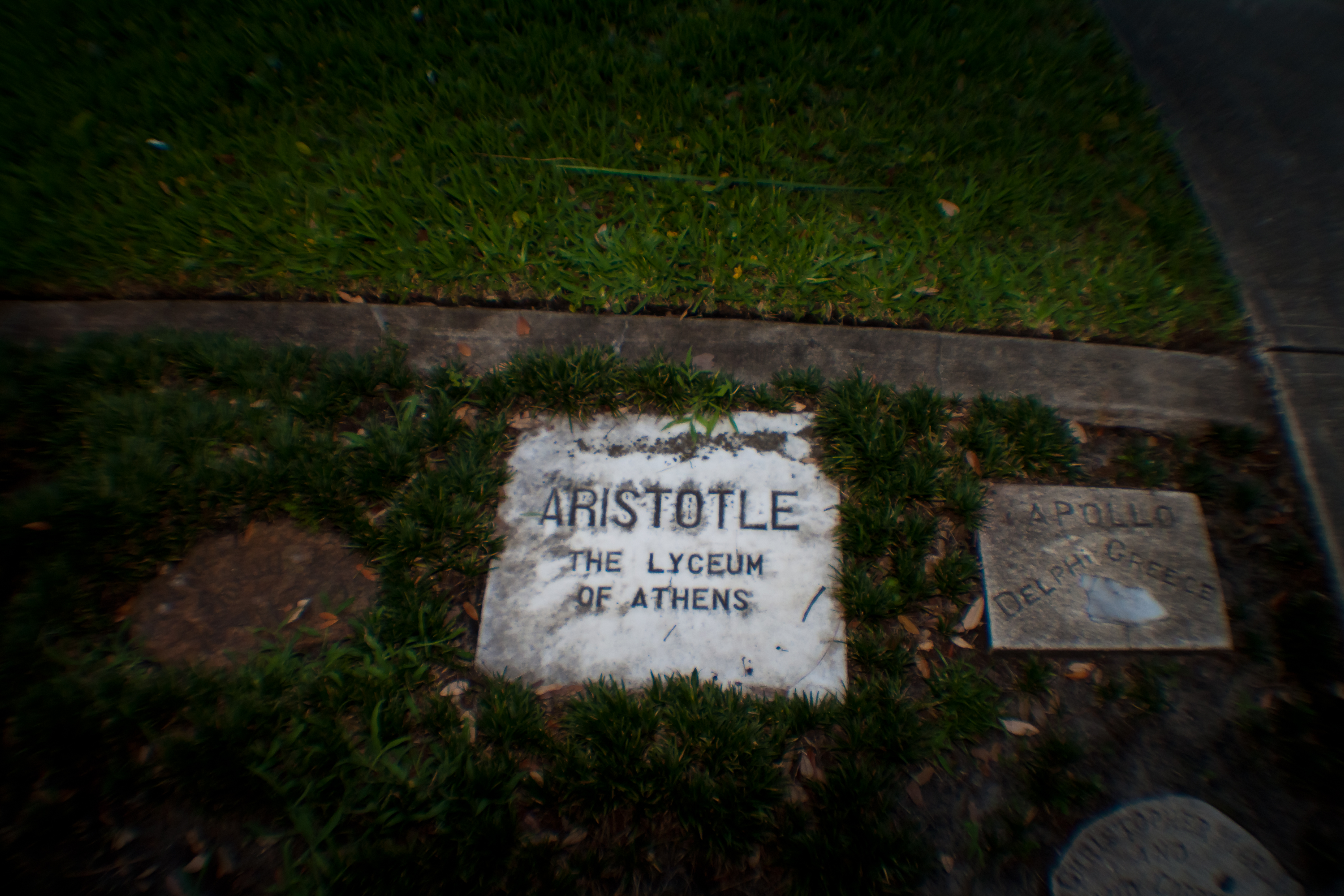 "White marble slab marked with the name ""Aristotle,"" taken from a location near the Lyceum in Athens, Greece. Image by ATrumbly via Flickr Creative Commons, 2.0"